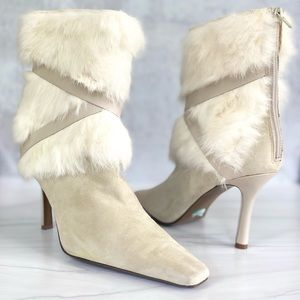 NINE WEST Dichali Rabbit Hair and Suede Boots